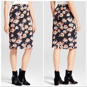 WHO WHAT WEAR Pencil Skirt Floral Print Size 4
